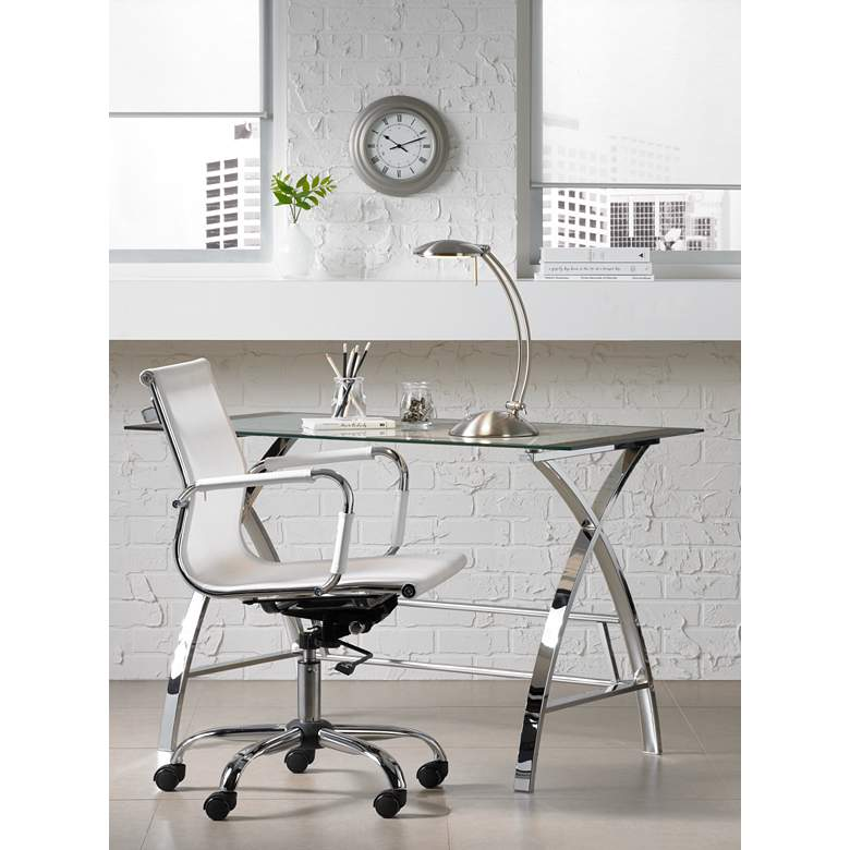 Lealand White and Chrome Low Back Desk Chair in scene