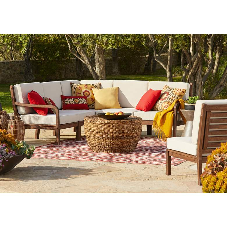 "Elaine Smith Suzani Sun 22"" Square Indoor-Outdoor Pillow in scene"