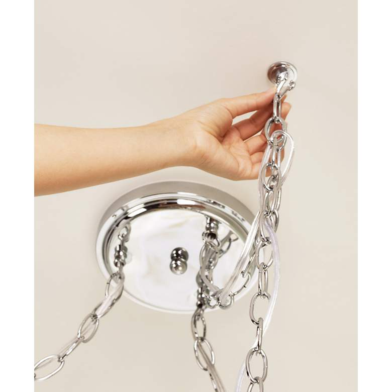 Crystal Rain Chrome 3-Light Swag Chandelier in scene