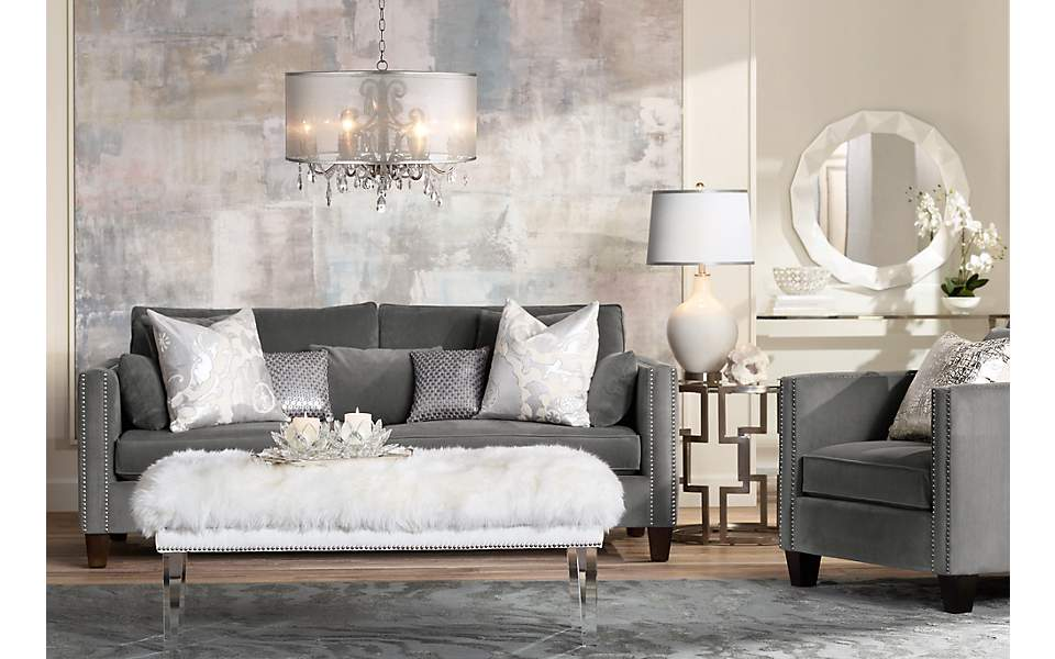 A Trend Setting Living Room With Acrylic Furniture And
