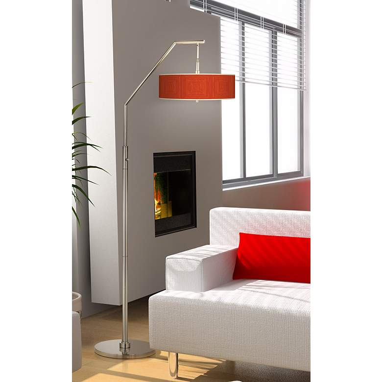 Stacy Garcia Crackled Coral Giclee Shade Arc Floor Lamp in scene