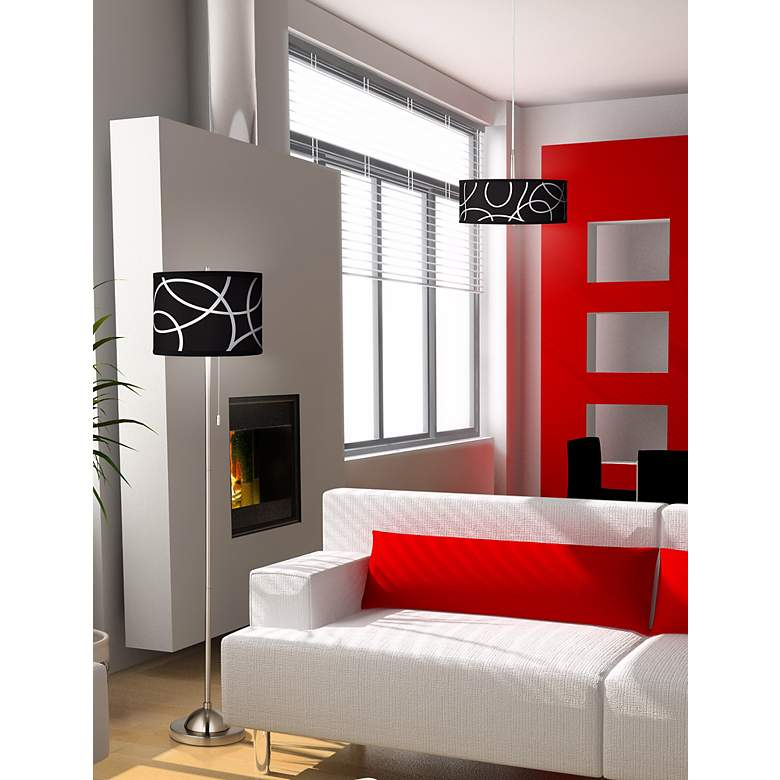 Abstract Loop Giclee Shade Floor Lamp in scene