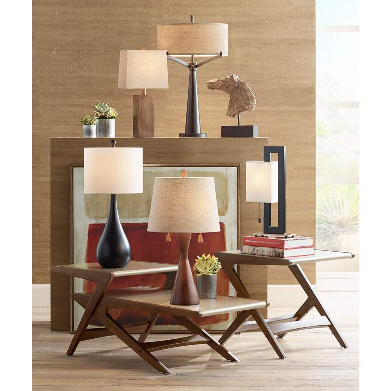 Floating Square Black Modern Table Lamp in scene