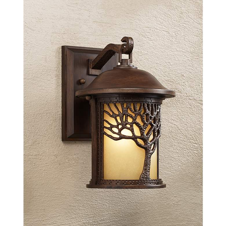 "Bronze Mission Style Tree 12 1/4"" High Outdoor Wall Light in scene"