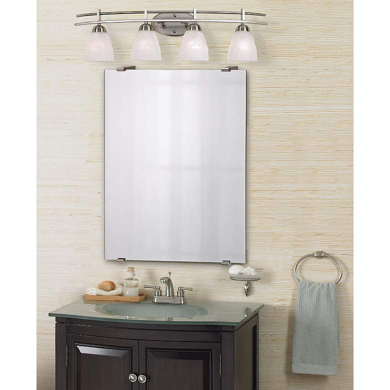 "Possini Euro Deco 33"" Wide Brushed Nickel 4-Light Bath Light in scene"