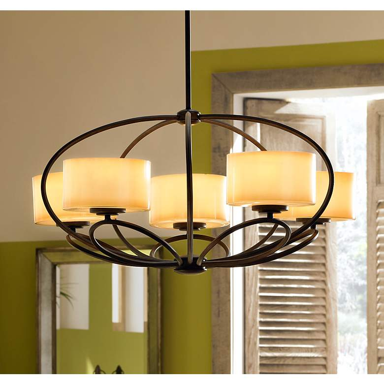 "Possini Euro Petals 32"" Wide Scavo Bronze Chandelier in scene"