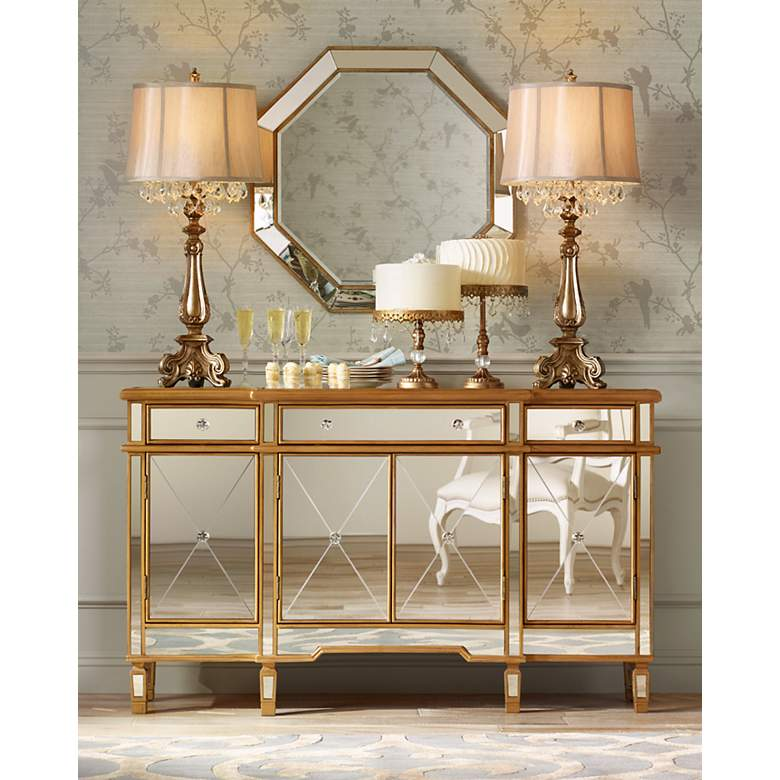 Dubois Crystal Spray Console Table Lamp in scene