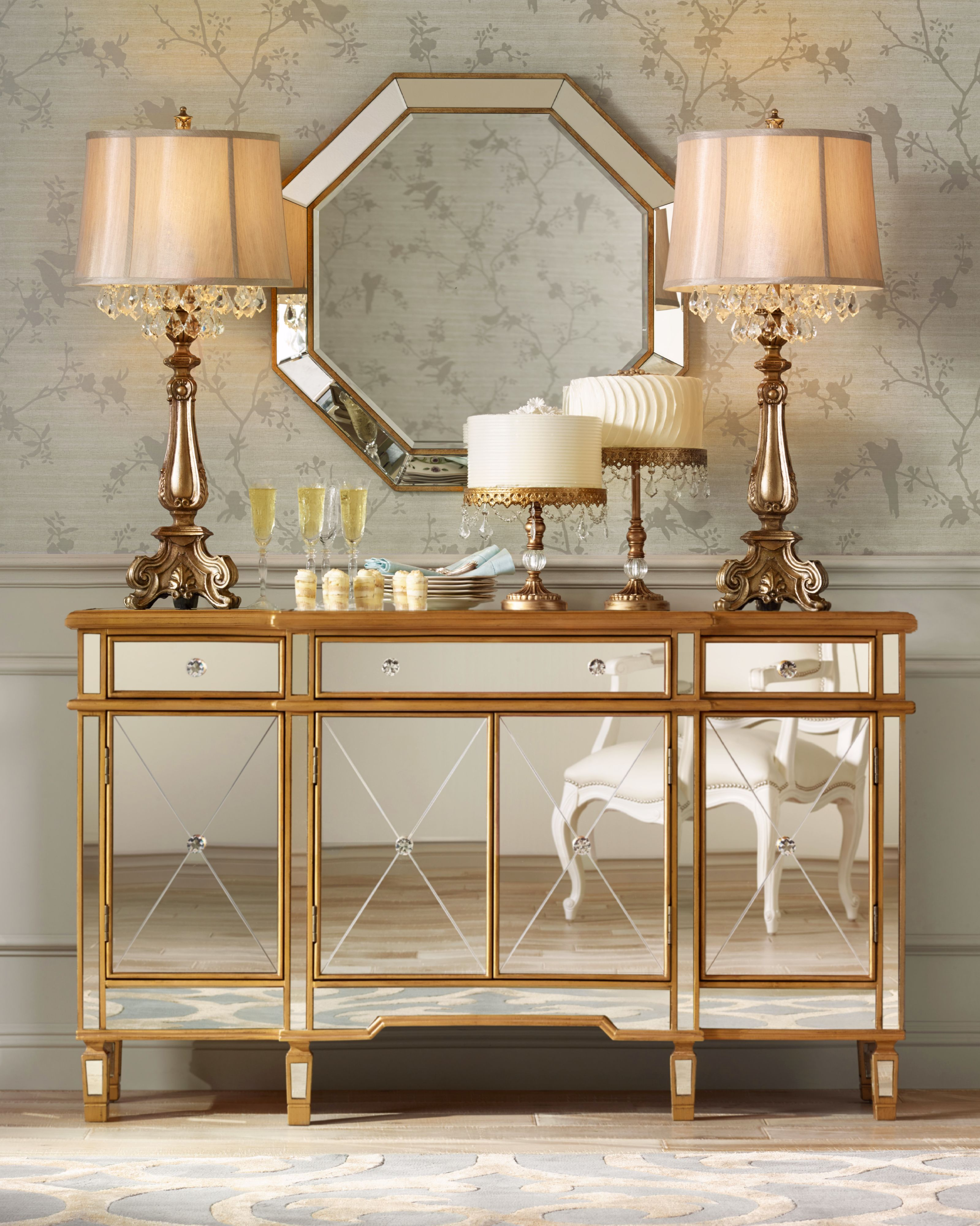 Mirrored Accent Console Table Living Room