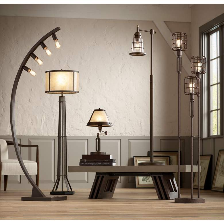 Averill Park Industrial Downbridge Bronze Floor Lamp in scene