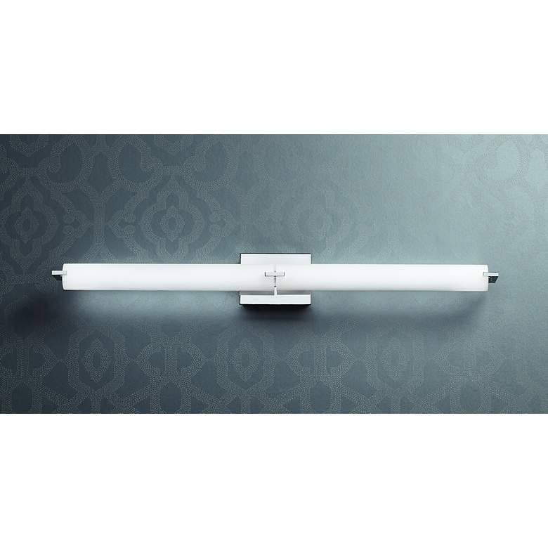 "George Kovacs Chrome 39 1/2"" Wide LED Bathroom Light in scene"