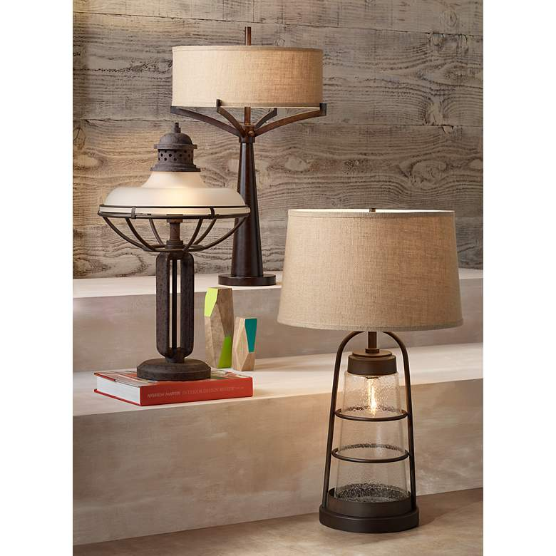 Franklin Iron Works™ Glass And Metal Industrial Table Lamp in scene