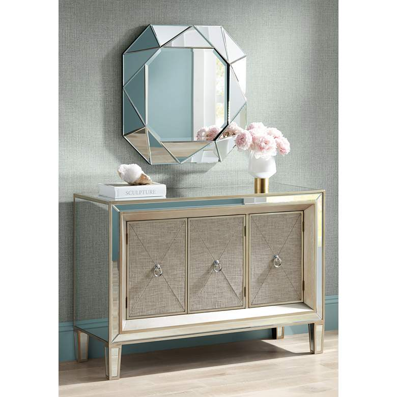 "Mira 48 1/2"" Wide Luxe 3-Door Mirrored Accent Cabinet in scene"
