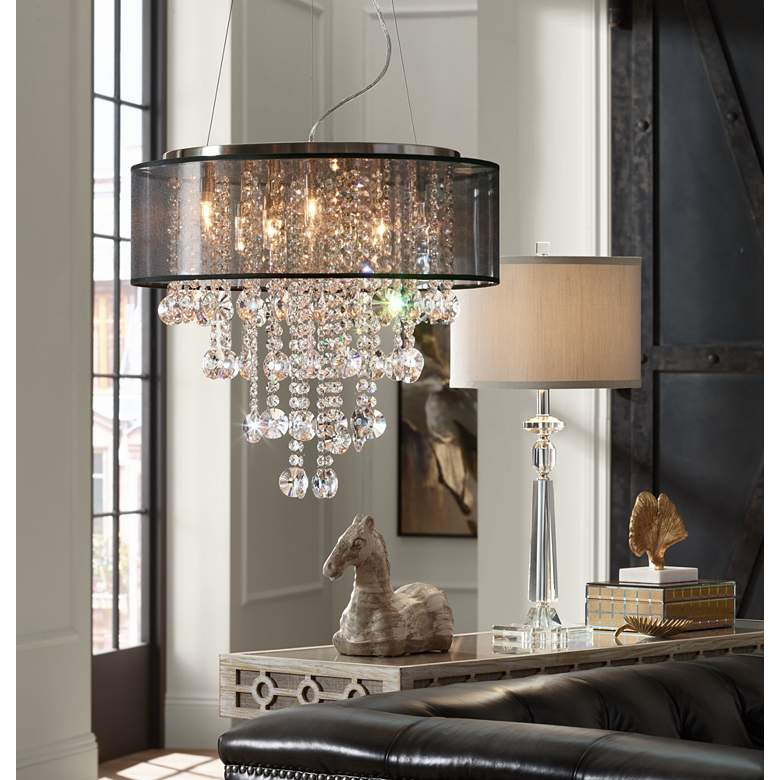 "Possini Euro Bretton 22""W Brushed Nickel Crystal Chandelier in scene"
