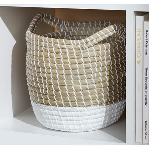Seagrass Round 3-Piece 2-Tone White Woven Basket Set
