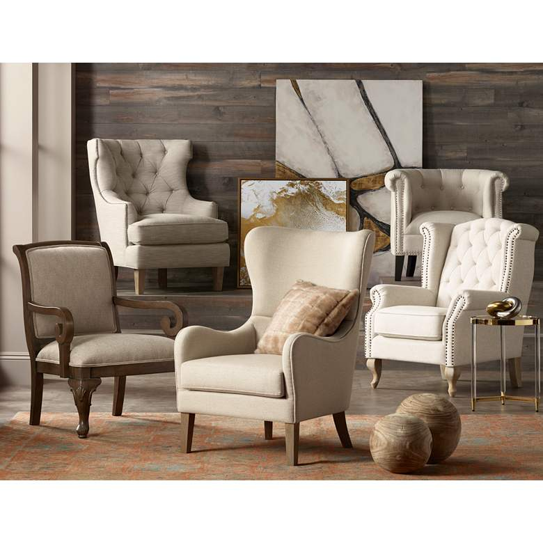 Williamsburg Natural Linen Tufted Wingback Armchair in scene