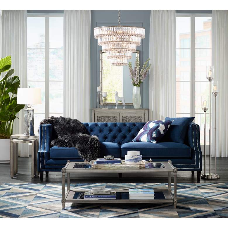 "Marilyn 93"" Wide Blue Velvet Tufted Upholstered Sofa in scene"
