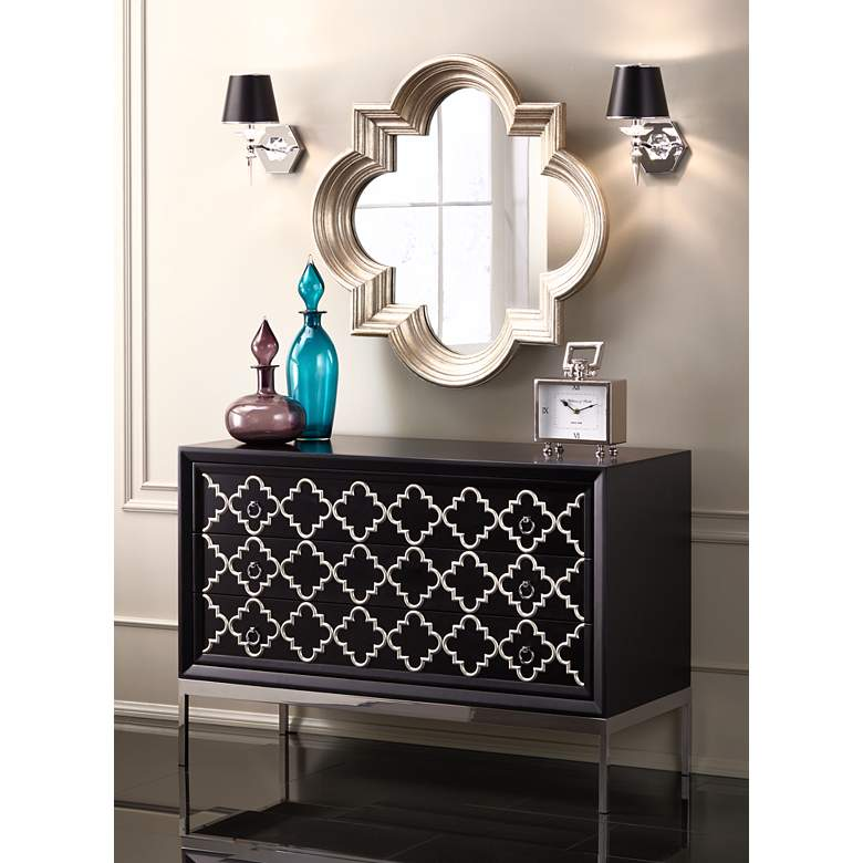 "Manhattan 13"" High Black and Chrome Crystal Wall Sconce in scene"