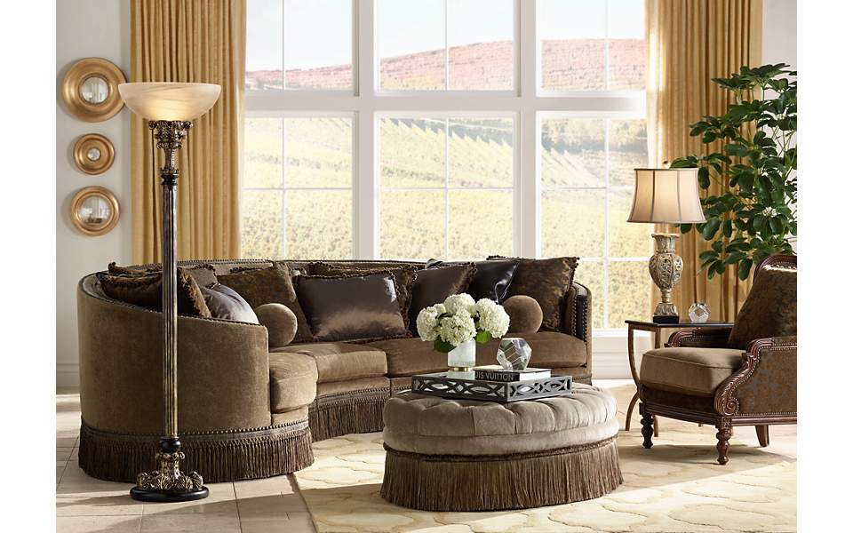 An Italian themed home decor living room with a classic ...