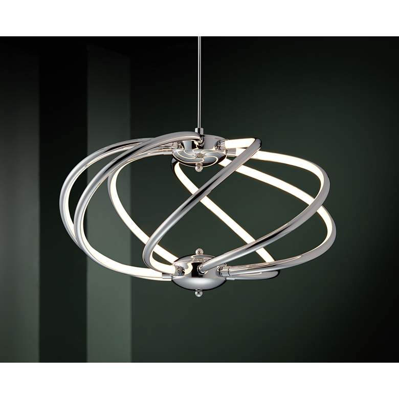 "Possini Euro Galaxy 19"" Wide Chrome LED Pendant Light in scene"