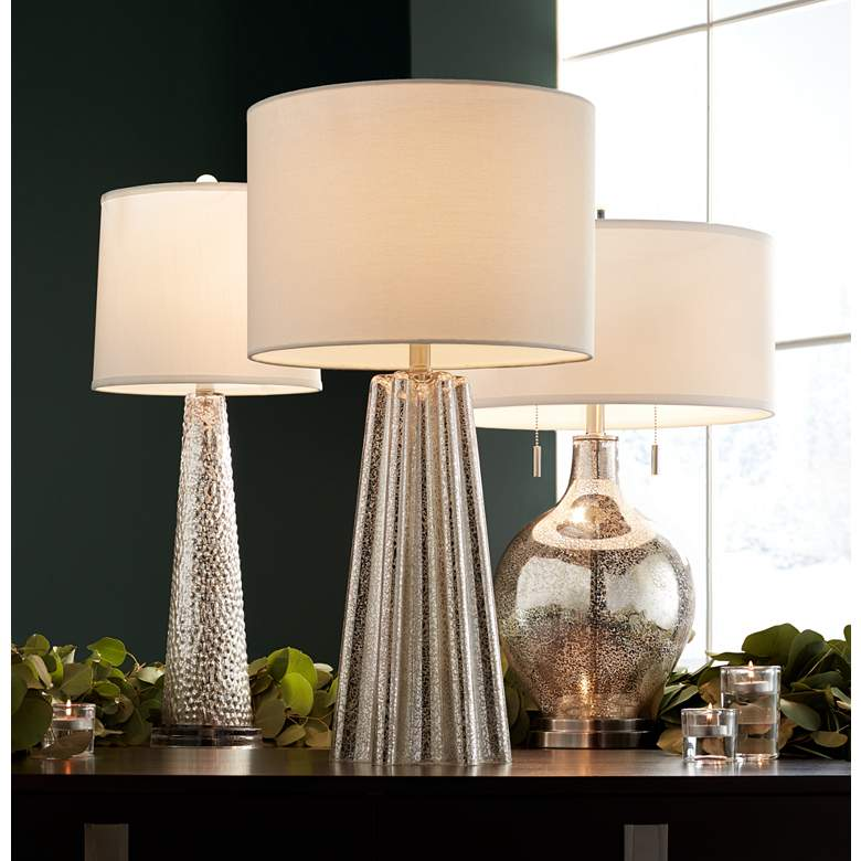 Hobbes Tapered Mercury Glass Table Lamp in scene