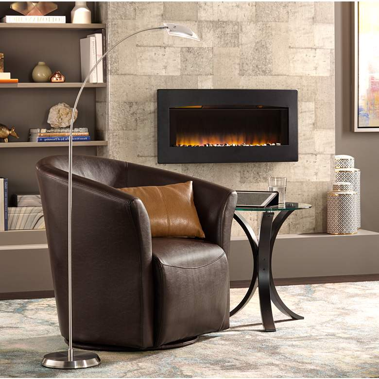Elements Rocket Rivera Brown Swivel Accent Chair in scene