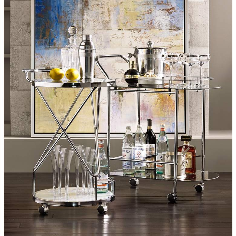 "Page 29 1/2"" High Glass and Chrome Rolling Serving Bar Cart in scene"