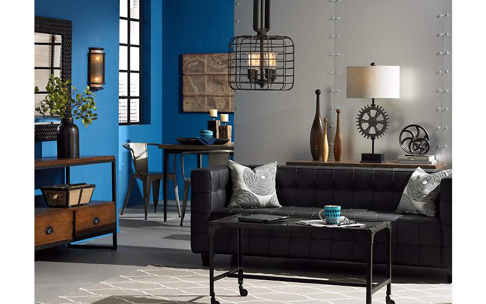 Contemporary industrial chic living room decor.