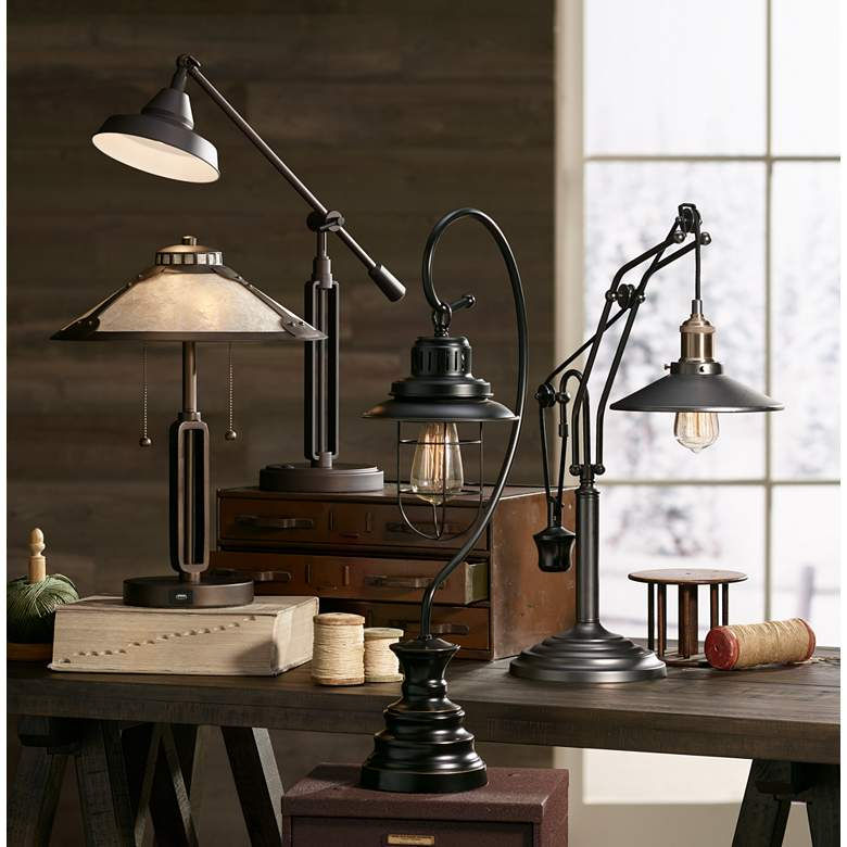 Samuel Mica Shade Desk Lamp with USB Port in scene