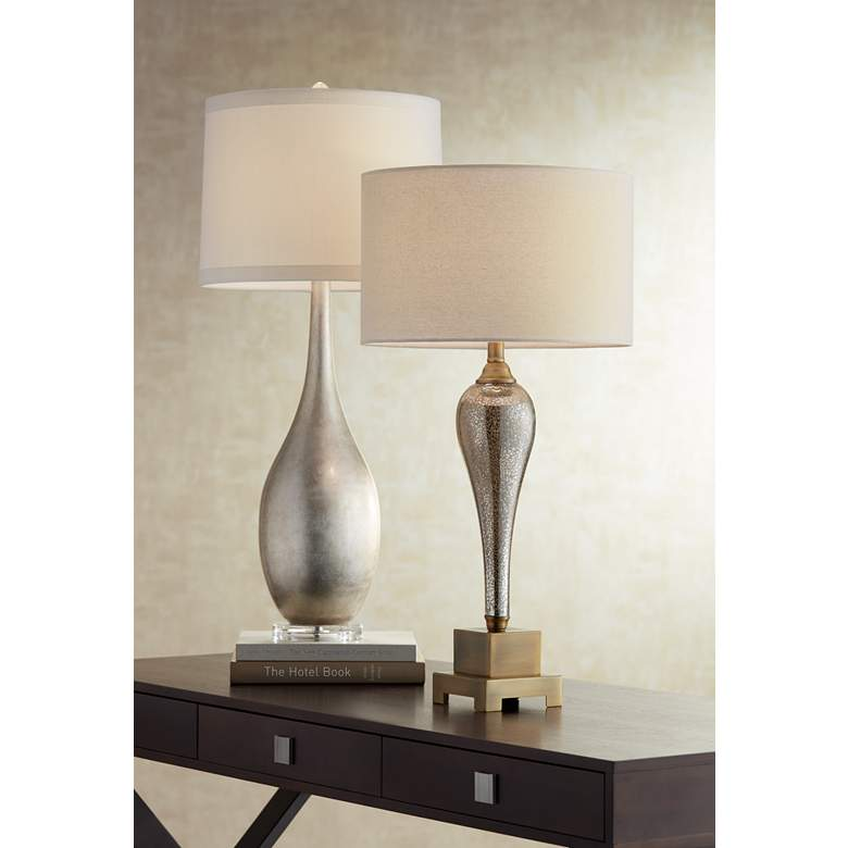 Gigi Mercury Glass Table Lamp by Possini Euro Design in scene