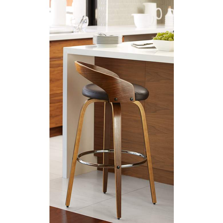 "Gratto 29 1/4"" Chocolate Brown Faux Leather Swivel Bar Stool in scene"