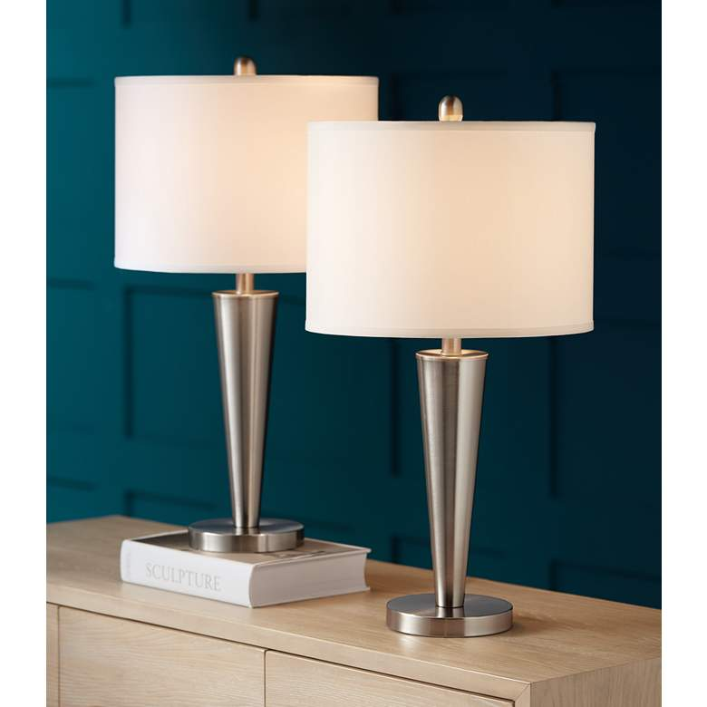 Geoff Brushed Nickel USB Table Lamp Set of