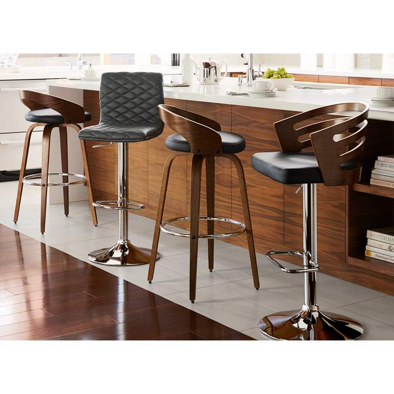 Adele Black Faux Leather Adjustable Swivel Bar Stool