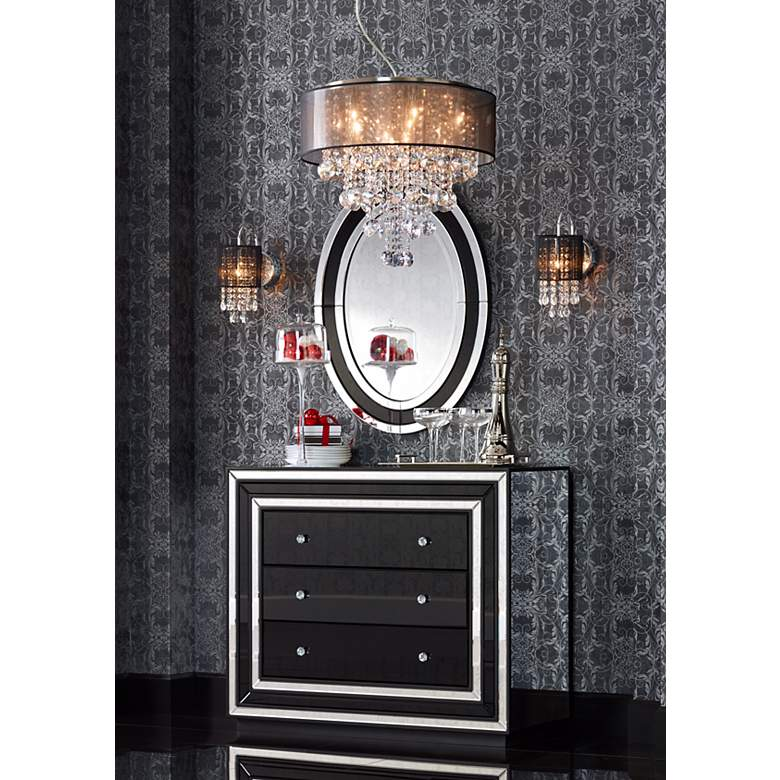"Black Line Shade 12"" High Chrome Crystal Wall"