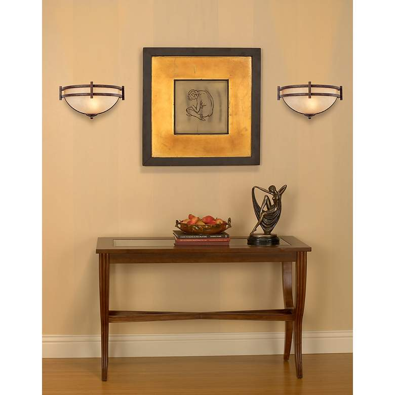 "Oak Valley Collection 14 1/2"" Wide Pocket Wall Sconce in scene"