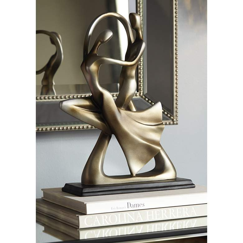 "Silver Abstract 14 3/4"" High Dancing Couple Sculpture in scene"