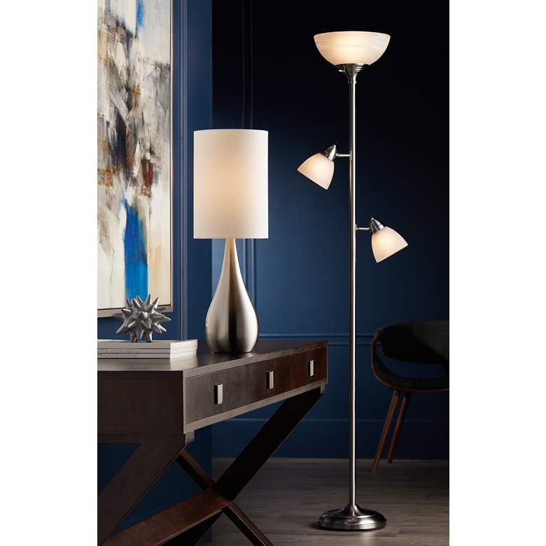 Ellery Brushed Nickel Tree Torchiere 3 Light Floor Lamp in scene