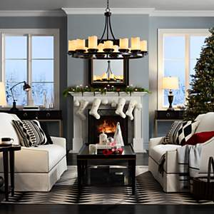 Living room design ideas room inspiration lamps plus a happy holiday living room with matching linen sofas mozeypictures Choice Image