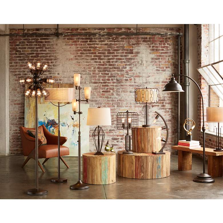Howell Double Drum Shade Bronze Table Lamp in scene