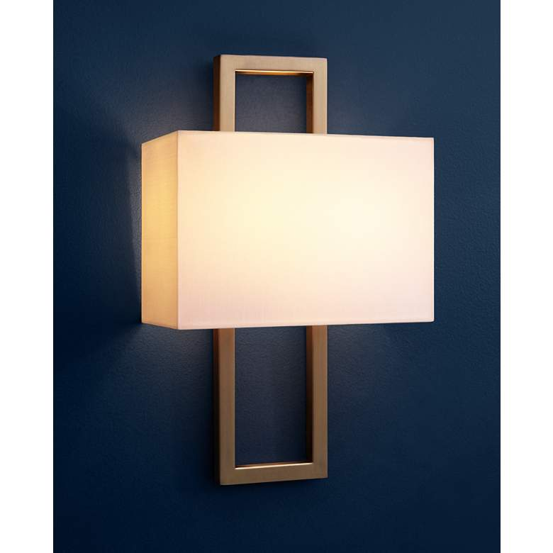 "Possini Euro French Brass 15 1/2""H Rectangular Wall Sconce in scene"