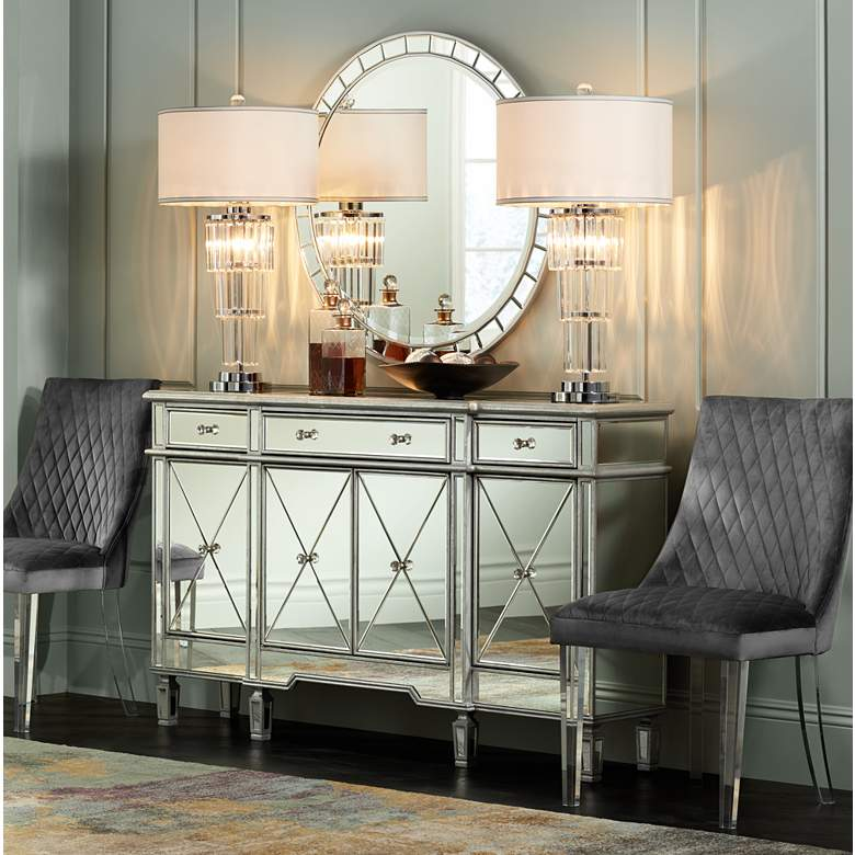 "Cablanca 60"" Wide 4-Door 3-Drawer Silver Mirrored Cabinet"