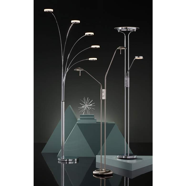 Possini Euro Aldo Chrome 5-Light LED Arc Floor Lamp in scene