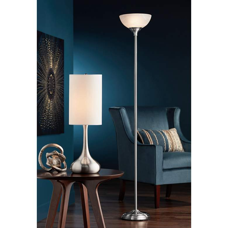 Brushed Nickel Droplet Table Lamp with Cylinder Shade in scene