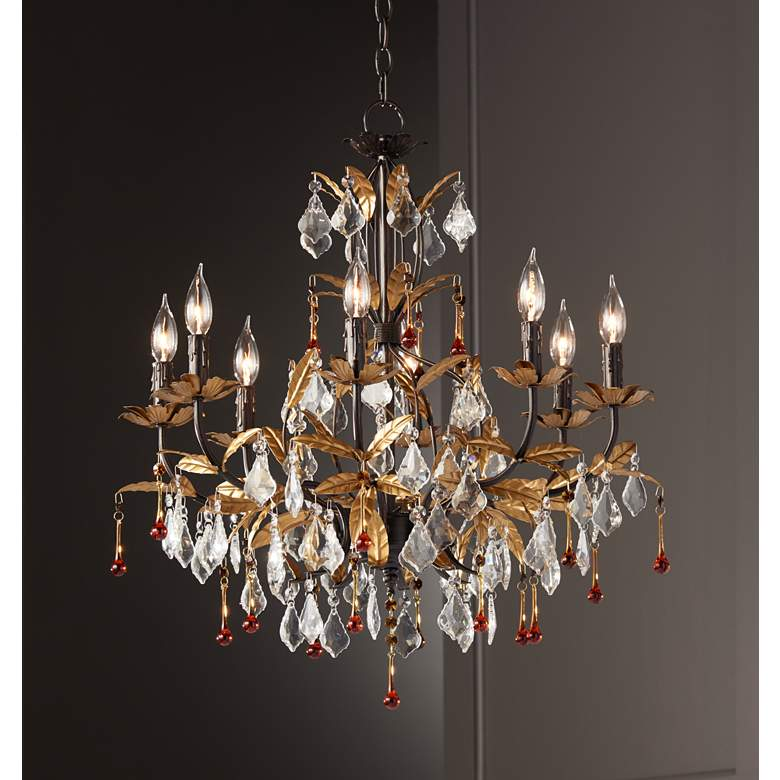 "Kathy Ireland Venezia Gold 8-Light 26"" Wide Chandelier in scene"