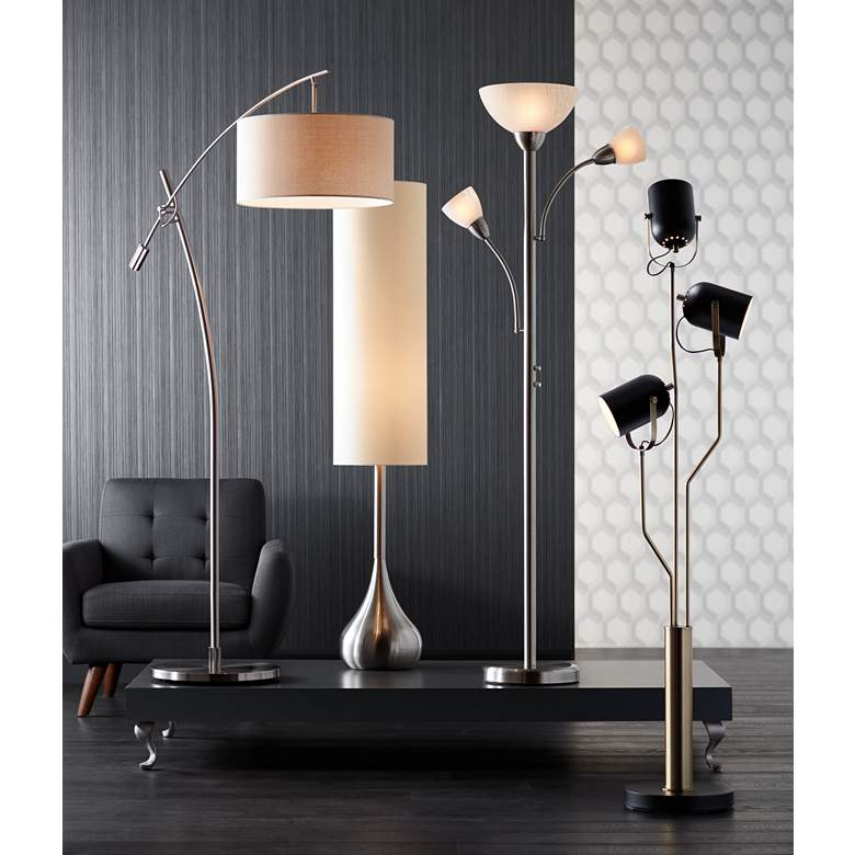 Possini Euro Brushed Nickel Boom Arched Floor Lamp in scene