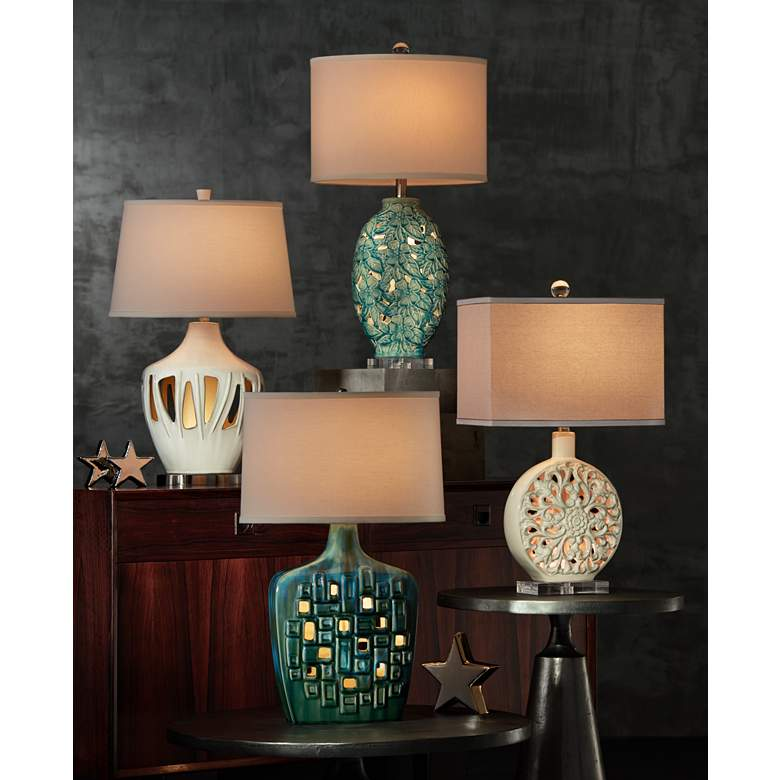 Possini Euro Vincent Ceramic Table Lamp with LED Night Light in scene