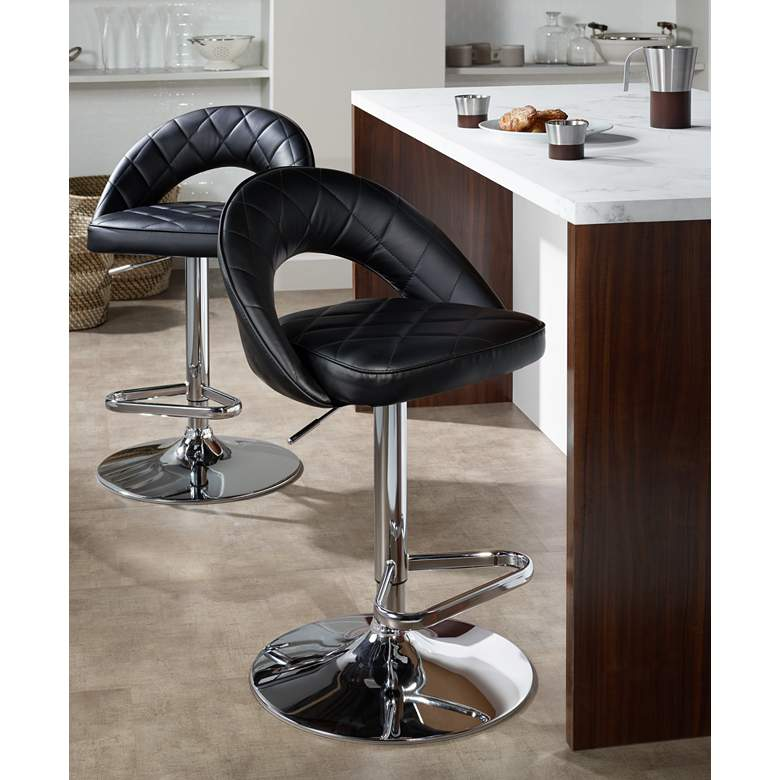 Illy Black Faux Leather Adjustable Swivel Bar Stool