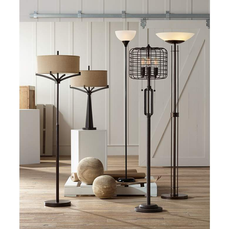 Bailey Black Torchiere Floor Lamp in scene