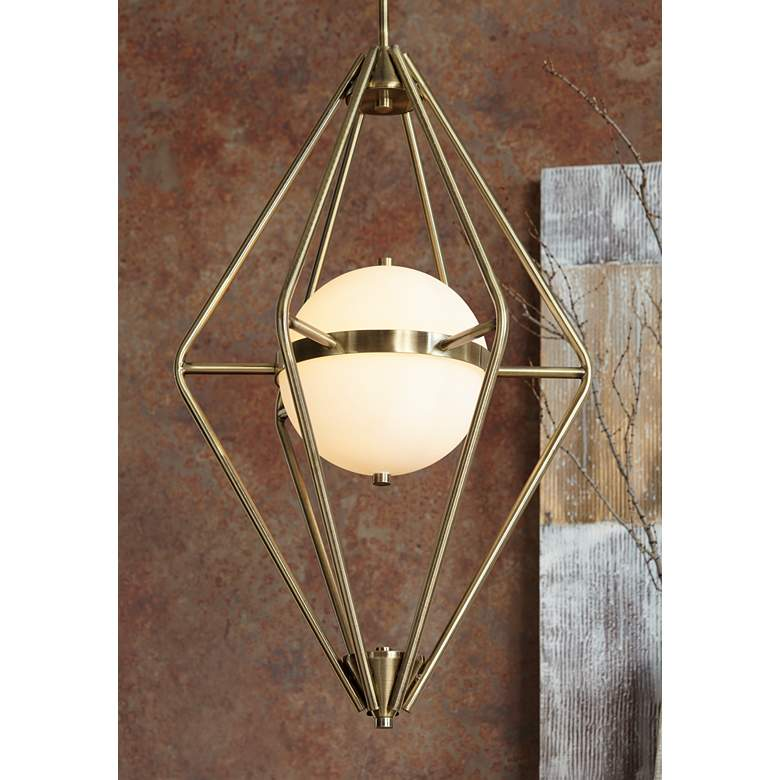 "Spectra 18"" Wide Retro Brass Chandelier in scene"