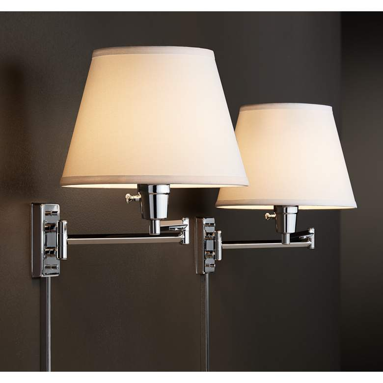 Clement Chrome Swing Arm Wall Lamp Set of 2 in scene