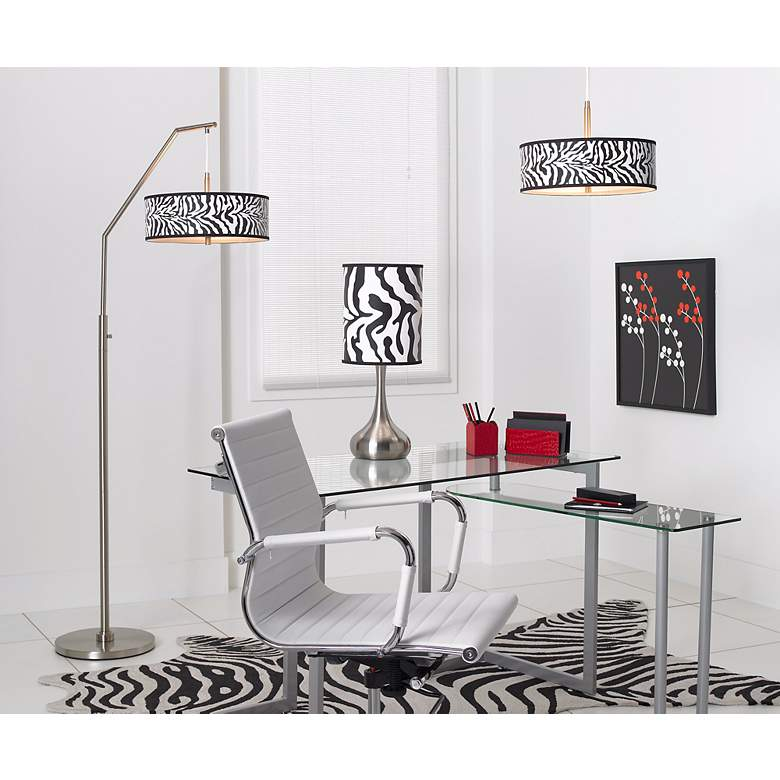 Safari Zebra Giclee Shade Arc Floor Lamp in scene